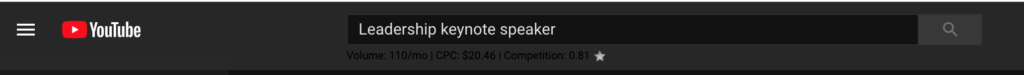 youtube search bar keynote speaker