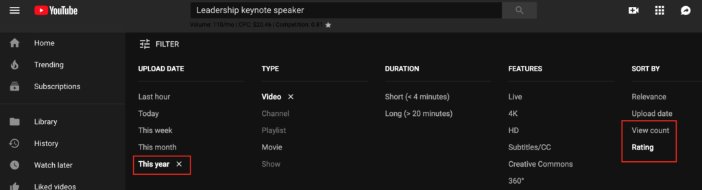 youtube search filters keynote speakers