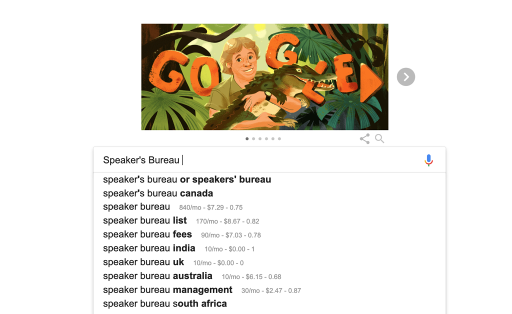 google search for a speakers bureau