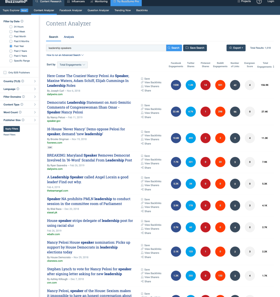 buzzsumo leadership speakers search